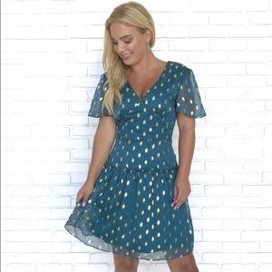 Teal Polka Dot Dress - NEW
